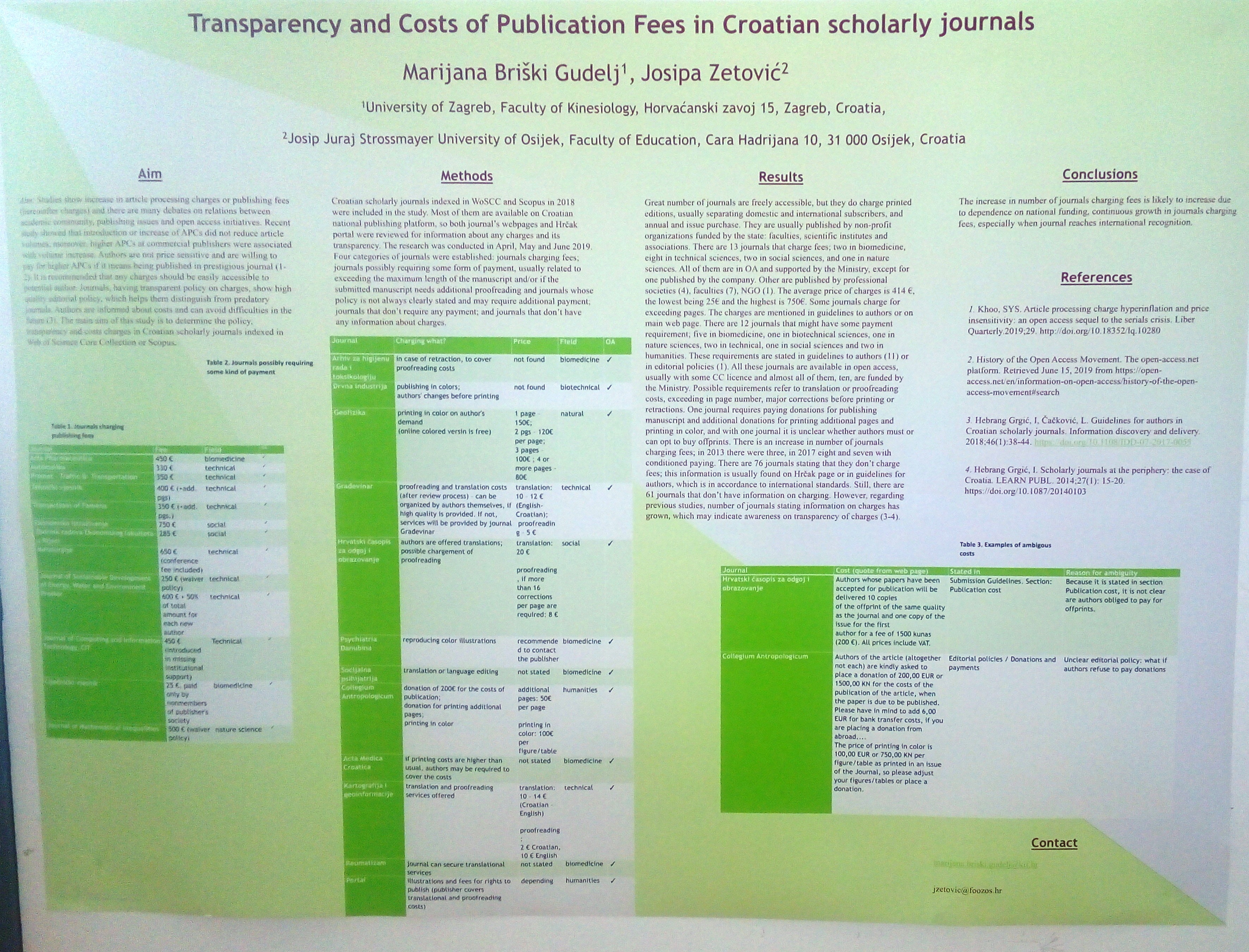 poster Fees in CroScholarlyJournals